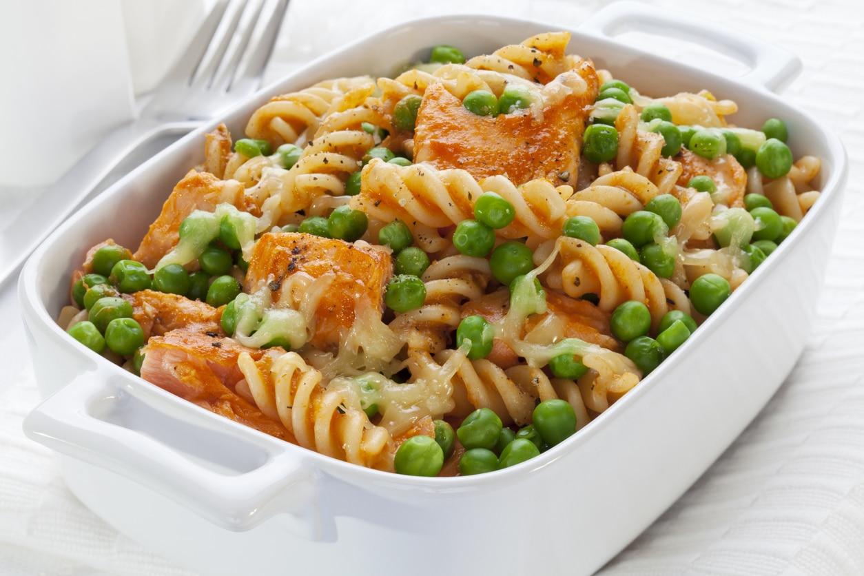 Pasta mit Lachs und Erbsen