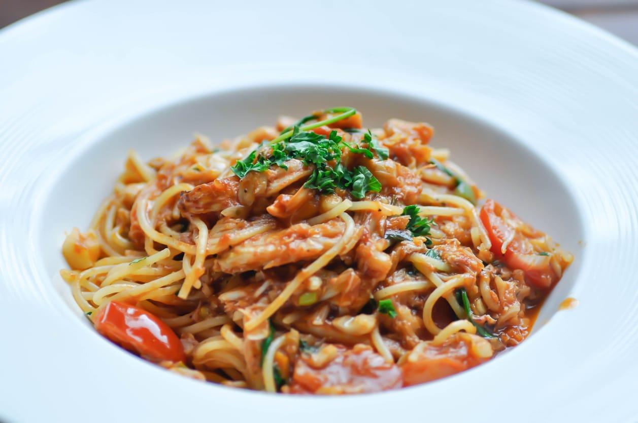 Spaghetti mit Thunfisch Tomatensauce