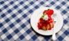 Bayerische Crème mit Erdbeersauce